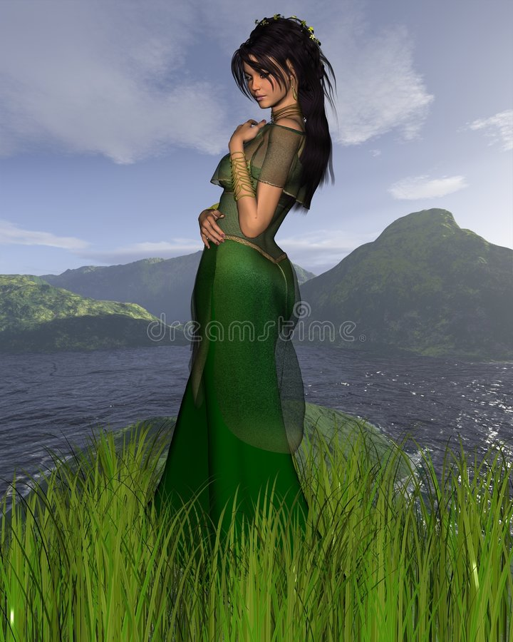 Celtic Princess with background royalty free illustration