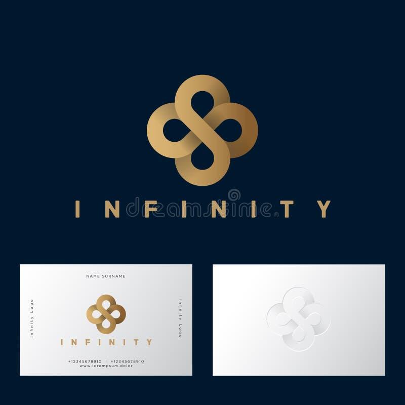 Celtic prydnad för guld- blomma som oändlighet från guld- band Oändlighetslogo på mörker-lilor bakgrund royaltyfri illustrationer