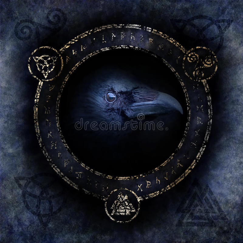 Celtic Raven Spell. With a sinister raven head materialising within a circular emblem of elaborate Celtic, pagan and runic symbols stock photos