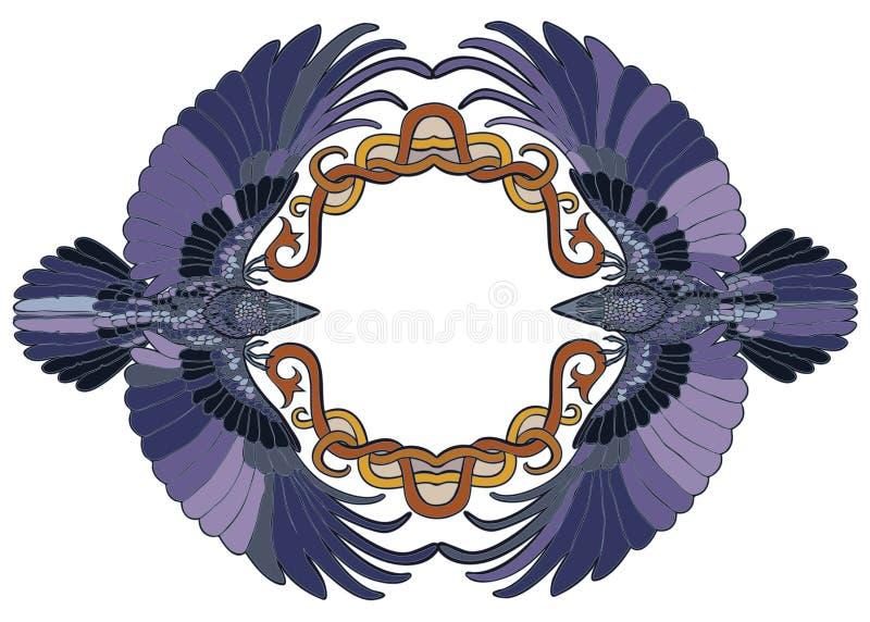 Celtic ravens pair in love frame vector illustration