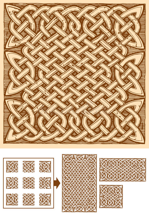 Celtic seamless pattern. Seamless celtic knots patterns in ink hand drawn style. Pattern is composed of 9 elements. Central can be copied and pasted endless stock illustration