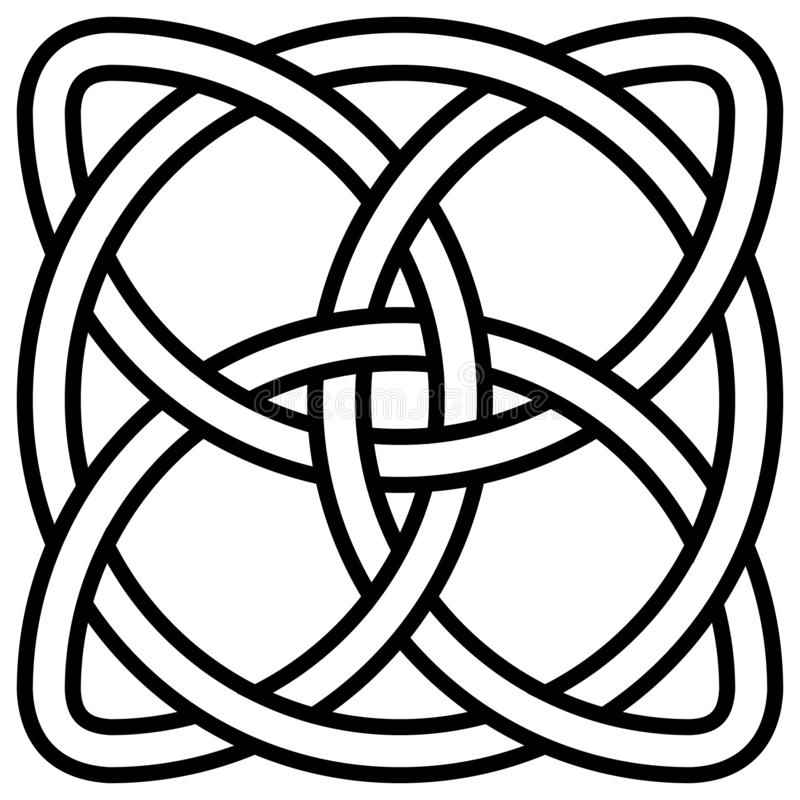Celtic shamrock knot in circle symbol Ireland, vector symbol symbol of infinity, longevity and health royalty free illustration