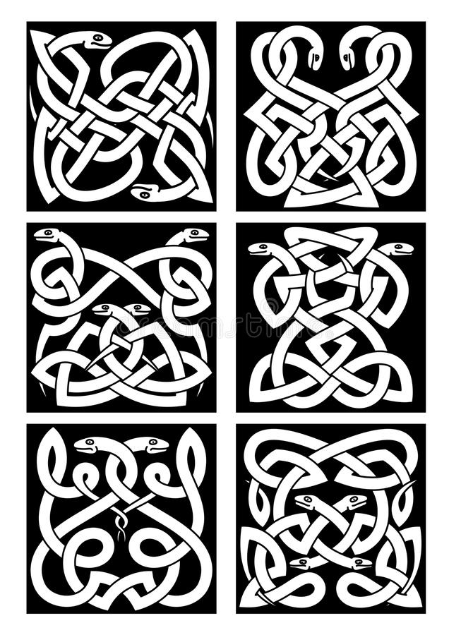 Celtic snakes картины узла с племенным орнаментом иллюстрация штока