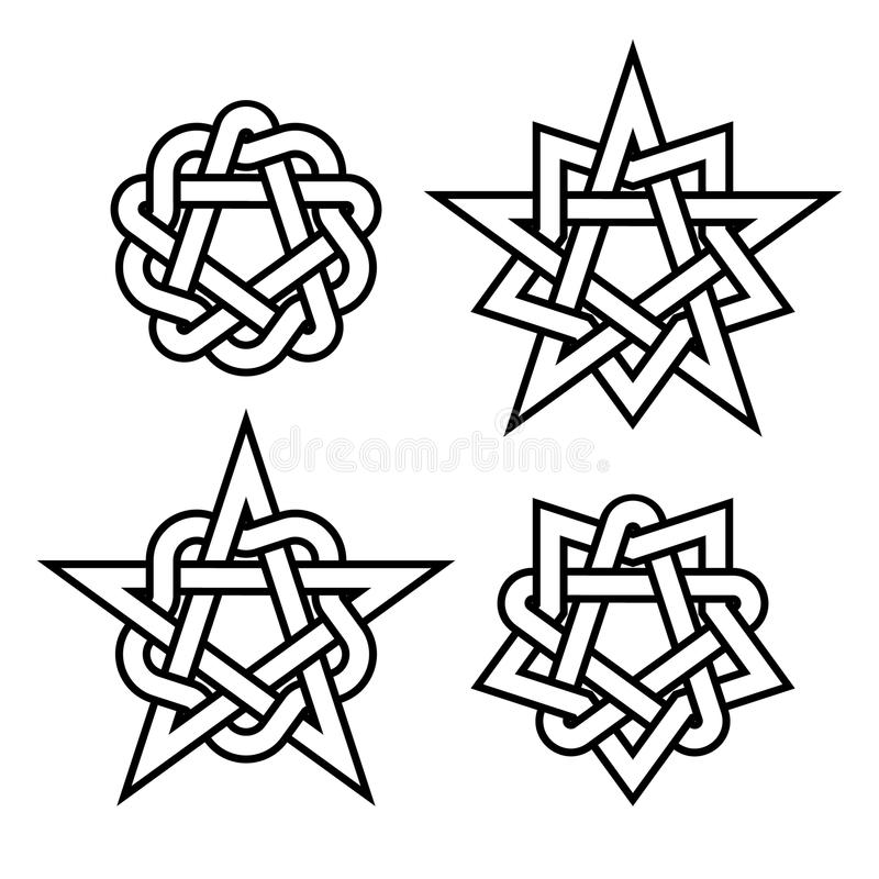 Celtic star knots or abstract geometry design elements on white background. Vector stock illustration