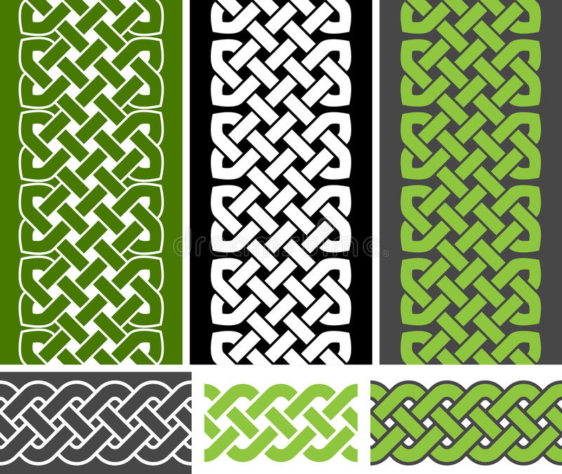 3 Celtic style knotted seamless borders and 3 braid seamless border variations, vector illustration. (green, white, gray colors stock illustration