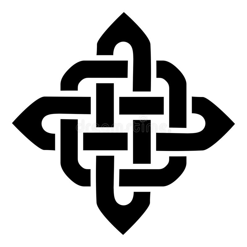 Celtic Style Sqaure Element Based On Eternity Knot Patterns In Black