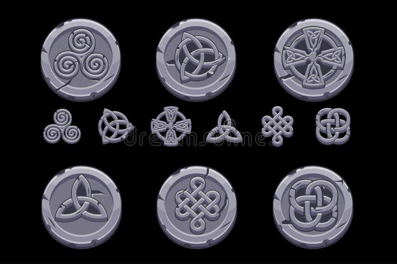 Celtic symboler Tecknade filmen ställde in celtic symboler på stenmynt stock illustrationer