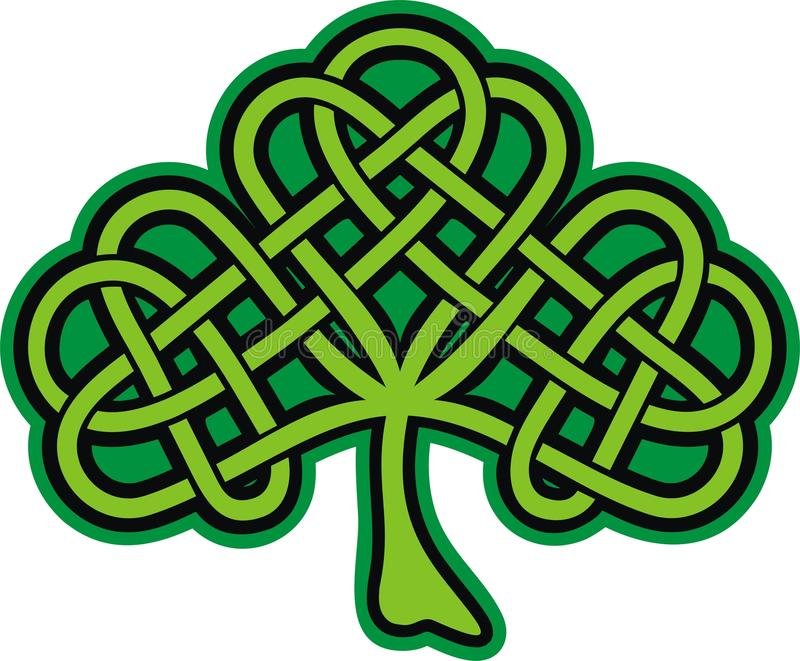 celtic utsmyckad shamrocktatuering royaltyfri illustrationer