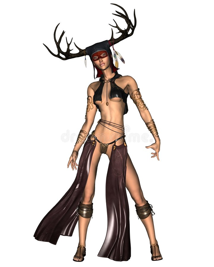 Celtic Woodland Goddess. Digital render of a ancient Celtic Woodland Goddess with antler headdress vector illustration