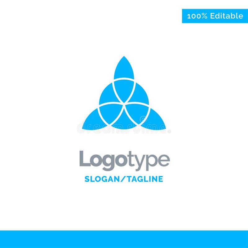 Celtico, Irlanda, fiore Logo Template solido blu Posto per il Tagline illustrazione vettoriale
