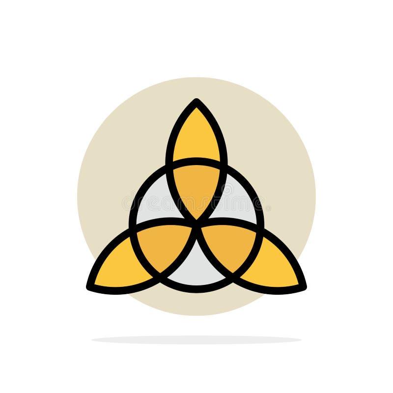 Celtico, Irlanda, icona piana di colore del fondo del cerchio dell'estratto del fiore illustrazione di stock