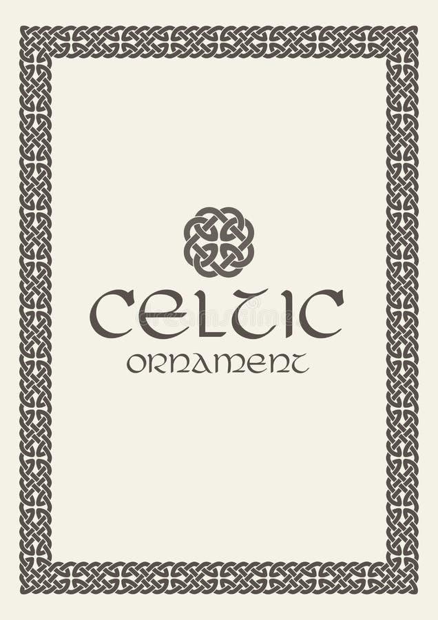 Celtycka kępka splatający ramy granicy ornament również zwrócić corel ilustracji wektora ilustracji