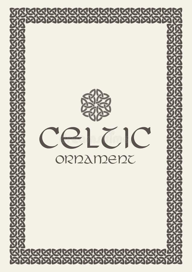 Celtycka kępka splatający ramy granicy ornament A4 rozmiar ilustracji