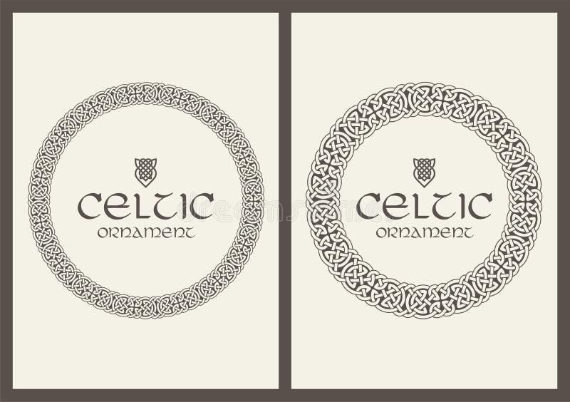 Celtycka kępka splatający ramy granicy ornament A4 rozmiar royalty ilustracja