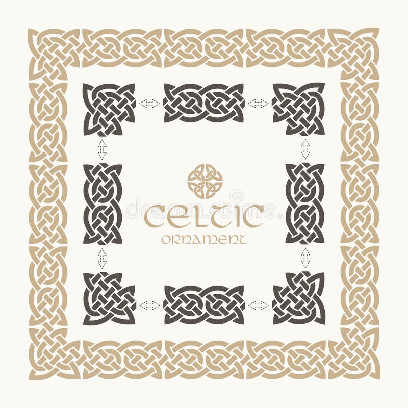 Celtycka kępka splatający ramy granicy ornamentu zestaw ilustracja wektor