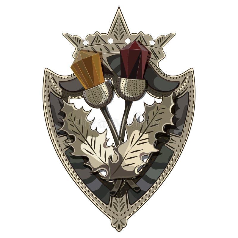 Celtycka Szkocka broszka w formie osłony z koroną, Szkocki oset ozdabiał z kamieniami jak garnet i bursztyn ilustracji