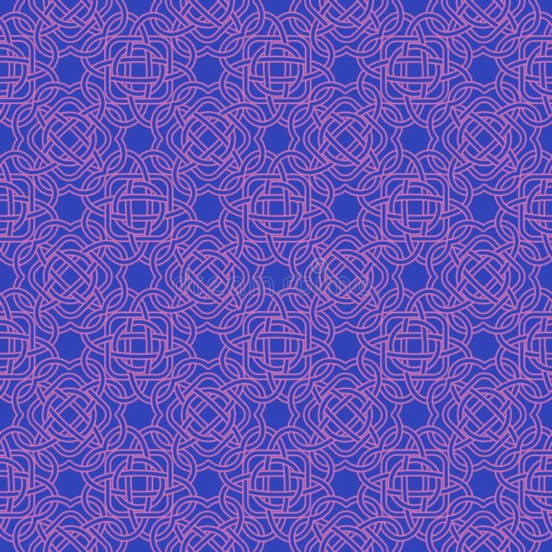 Celtycki bezszwowy wzór w Średniowiecznym stylu Plexus tło ilustracji