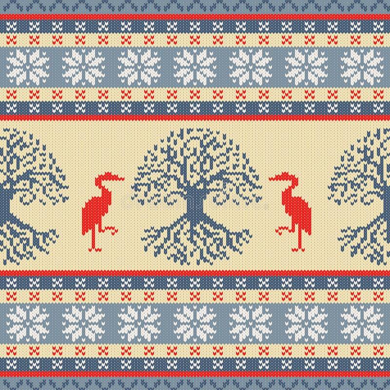 Celtycki drzewo życie i żuraw Trykotowy woolen bezszwowy ornament royalty ilustracja