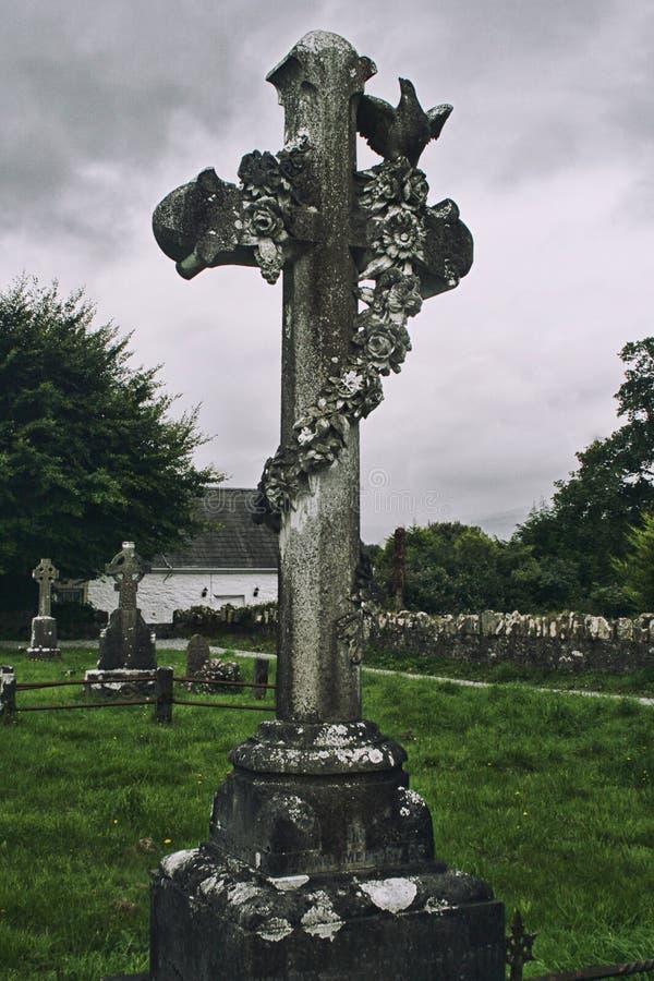 Celtycki krzyż na cmentarzu na Dingle półwysepie, Irlandia obrazy stock