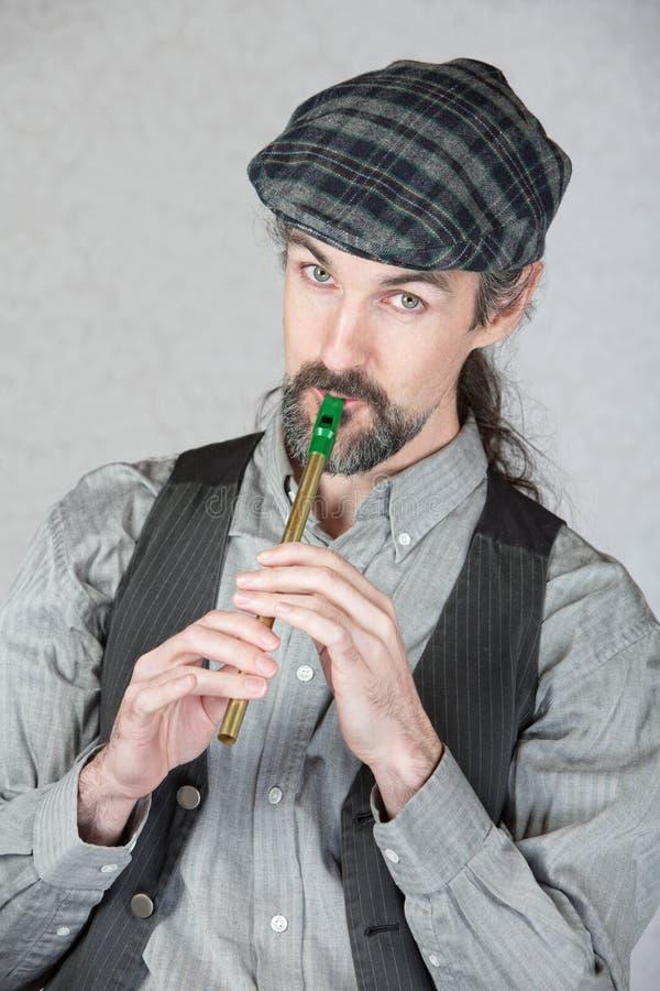 Celtycki Ludowy muzyk Bawić się flet fotografia stock