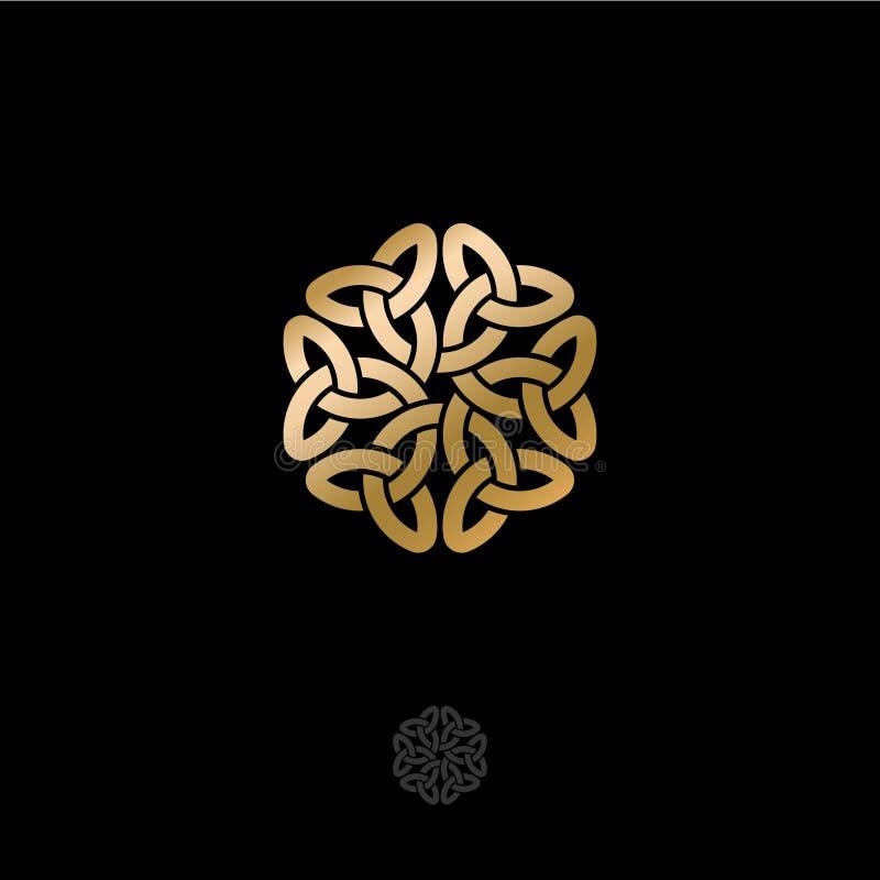Celtycki plexus ornament Różyczka wzór na ciemnym tle, przeplatać linie w kwiecistym motywie, odizolowywającym ilustracji