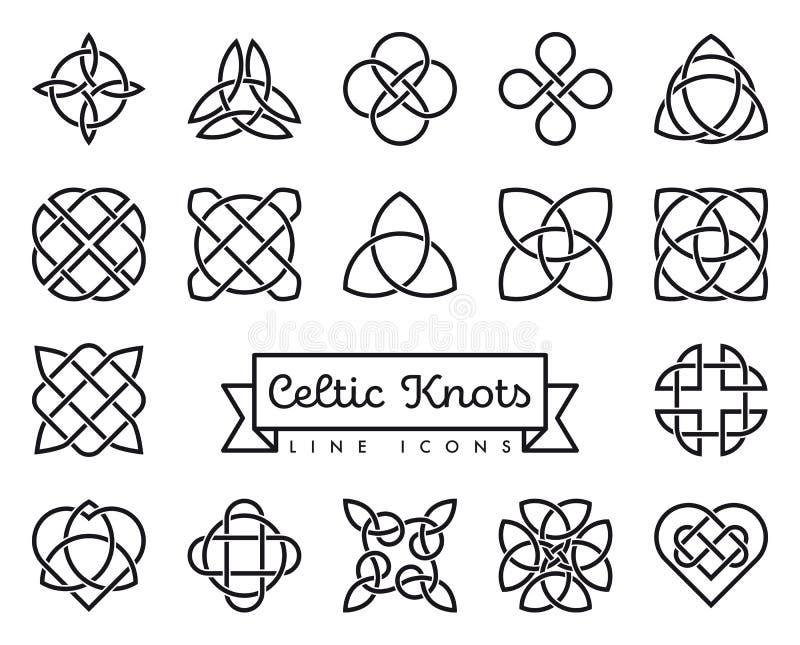 Celtyckie kępka wektoru linii ikony ustawiać ilustracja wektor