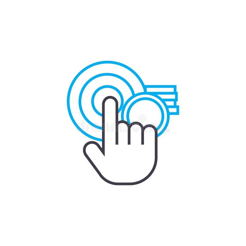 Celu celnego wektoru uderzenia cienka kreskowa ikona Celu konturu celna ilustracja, liniowy znak, symbolu pojęcie ilustracji