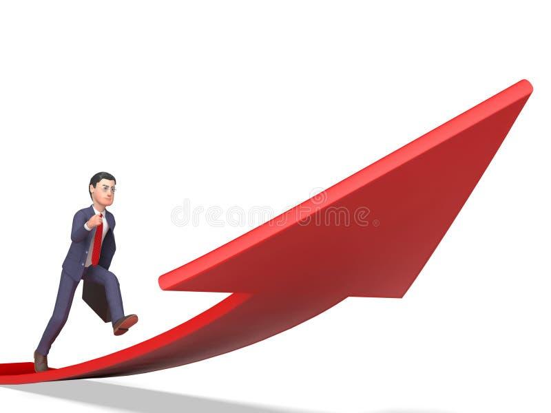 Celu kierunek Znaczy Biznesowej osoby I 3d renderingu Naprzód ilustracji