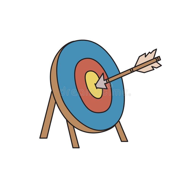 celu strzałkowaty ilustracyjny wektor Obiektywny symbol Bramkowa ikona Barwiona kreskowa wektorowa ilustracja odosobniony ilustracji