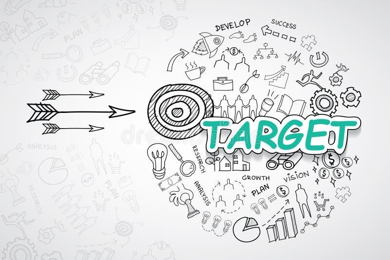 Celu tekst Z kreatywnie rysunków wykresów i map biznesowego sukcesu strategii planu pomysłem, inspiraci pojęcia nowożytnego proje ilustracji