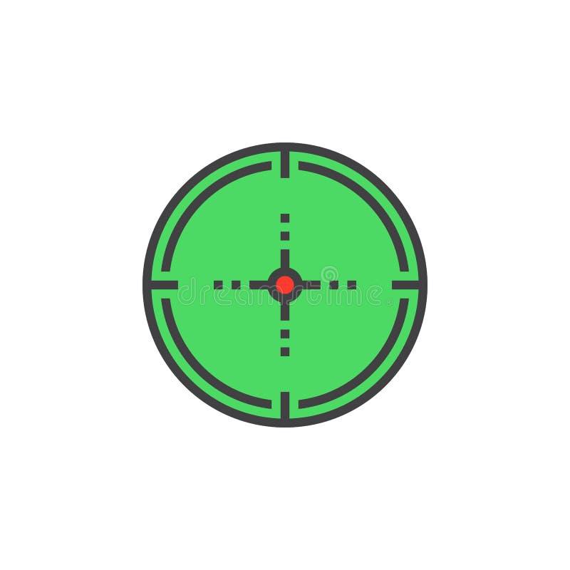 Celuje, cel linii ikona, wypełniający konturu wektoru znak, liniowy colorf royalty ilustracja