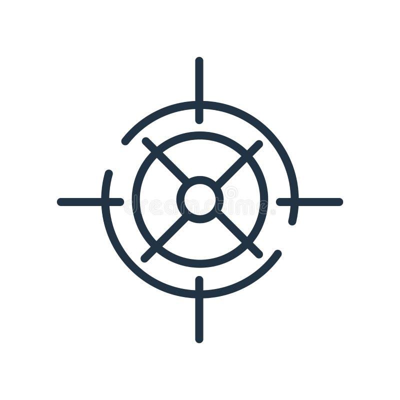 Celuje ikona wektor odizolowywającego na białym tle, Celuje, znaka, kreskowego symbol lub liniowego elementu projekt w konturu st royalty ilustracja