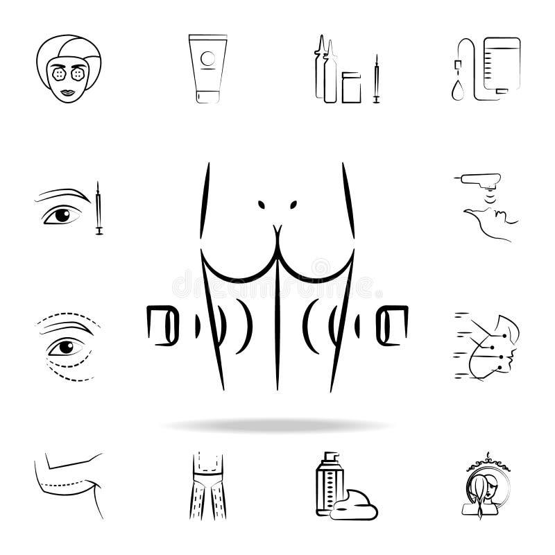 celulitisu usunięcia ikona Szczegółowy set starzenie się procedury ikony Premia graficzny projekt Jeden inkasowe ikony dla ilustracja wektor