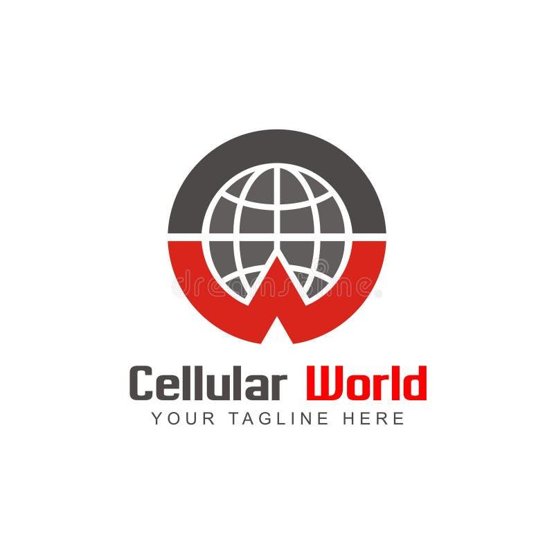 Celullarwereld Logo Design Inspiration stock illustratie