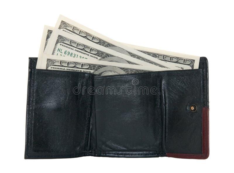 Cem contas de dólar em uma carteira fotografia de stock royalty free