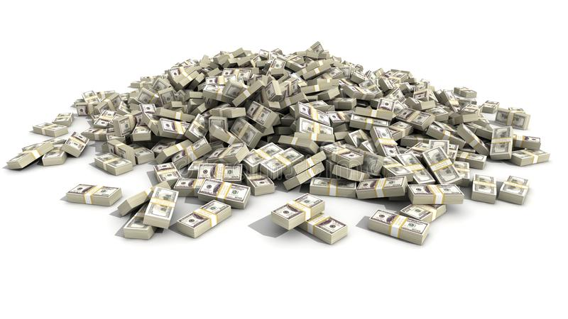 Cem dólares Bill Bundles em uma pilha fotografia de stock