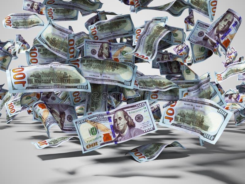 Cem dólares de cédulas que caem ao 3d à terra rendem no fundo cinzento com sombra ilustração do vetor