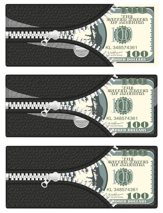 Cem dólares em sua carteira ilustração royalty free