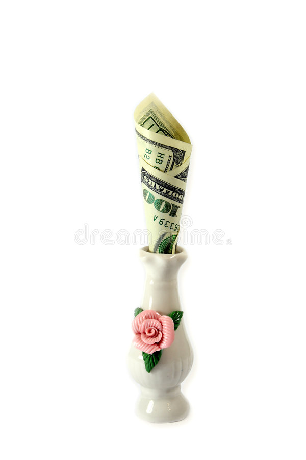 Cem Dólares No Vaso Imagem de Stock Royalty Free