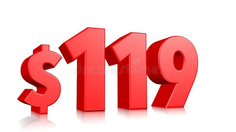 119$ cem dezenove símbolos do preço texto vermelho 3d para render com sinal de dólar no fundo branco ilustração royalty free