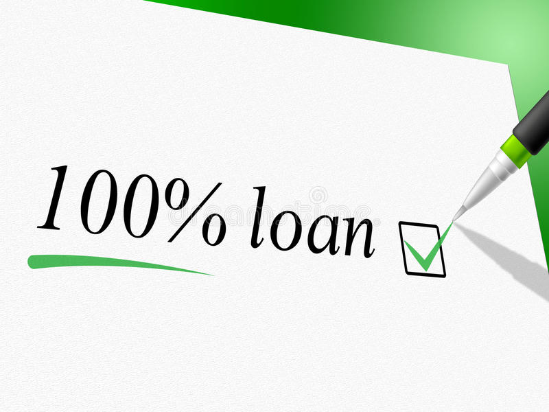 Cem do empréstimo das mostras por cento de avanço e empréstimos do crédito ilustração royalty free