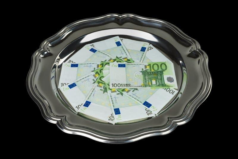 Cem euro- contas na placa de prata reflexiva foto de stock