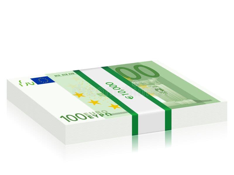 Cem euro- pilhas ilustração stock