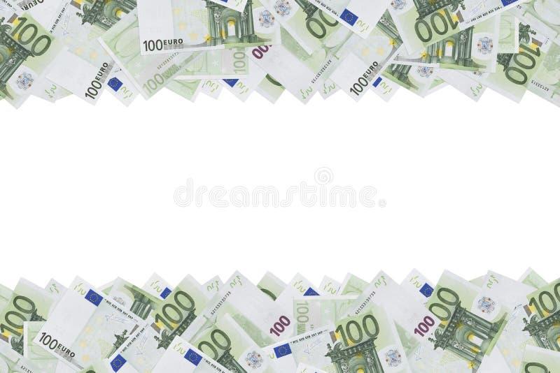 Cem fundos da textura da cédula do euro A metade do fundo é enchida com as contas de dinheiro de 100 euro Copie o espaço Coloque  fotografia de stock royalty free