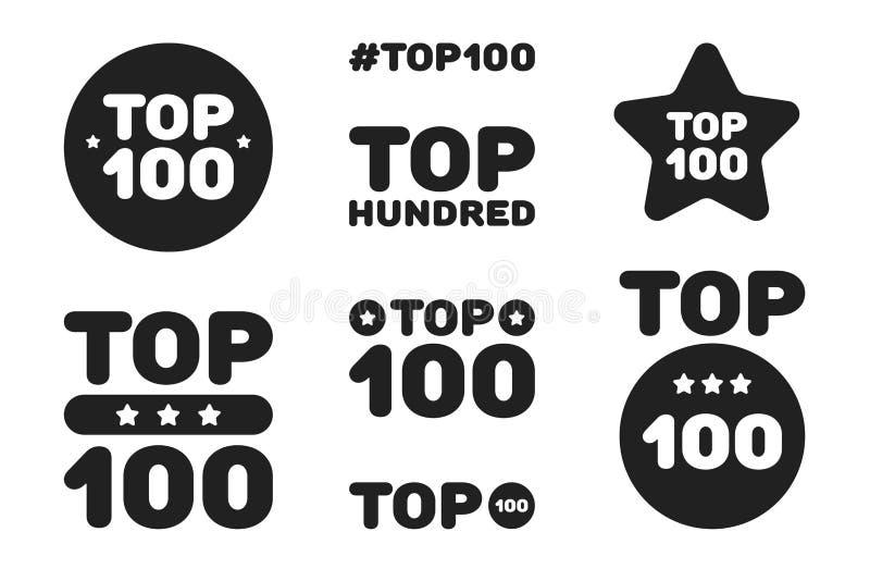 Cem grupos preto e branco superior do ícone 100 Ilustra??o do vetor ilustração do vetor