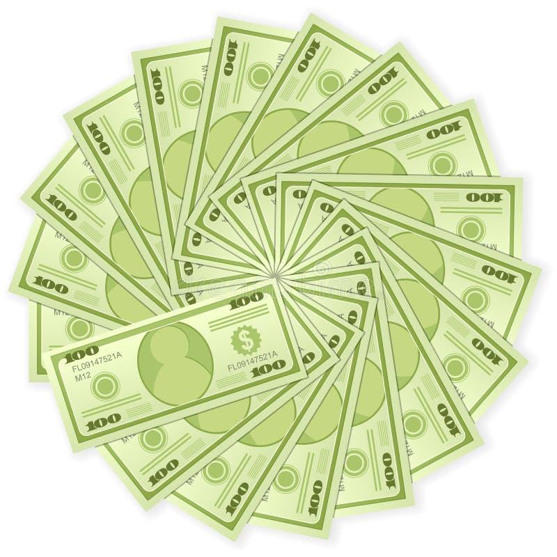 Cem notas de banco do dólar ilustração stock