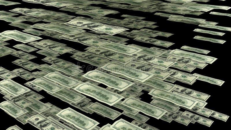 Cem notas de dólar que voam lateralmente ilustração stock