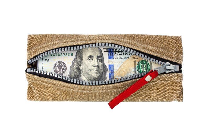 Cem notas de dólares em carteira aberta com zíper sobre fundo branco isolado de face superior, notas de dólar na bolsa fotos de stock royalty free