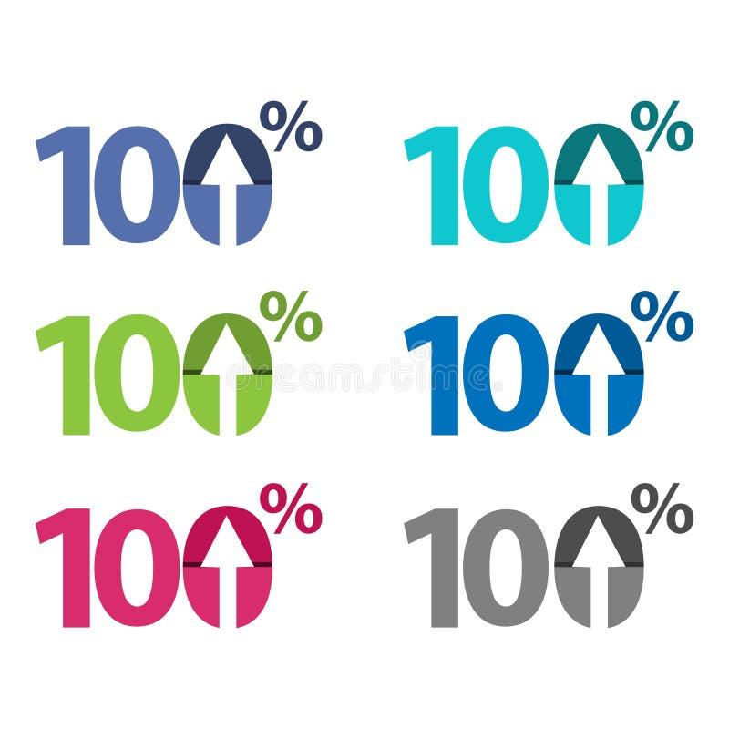 Cem por cento acima, ilustração ascendente da seta ilustração royalty free