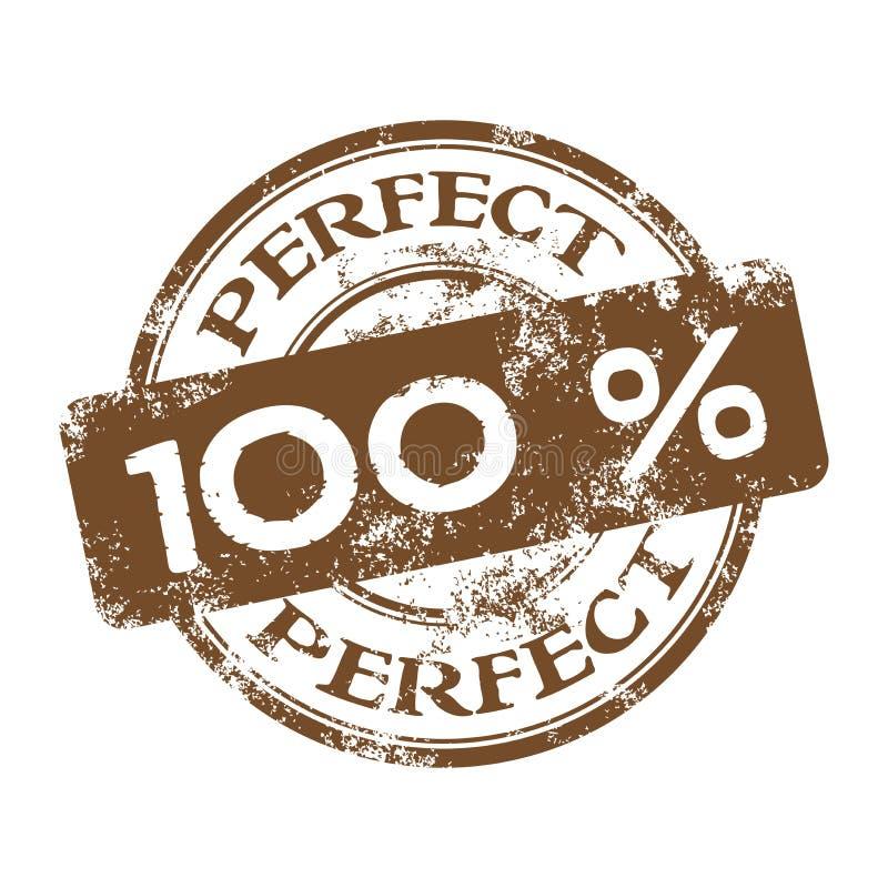 Cem por cento aperfeiçoam o carimbo de borracha ilustração stock